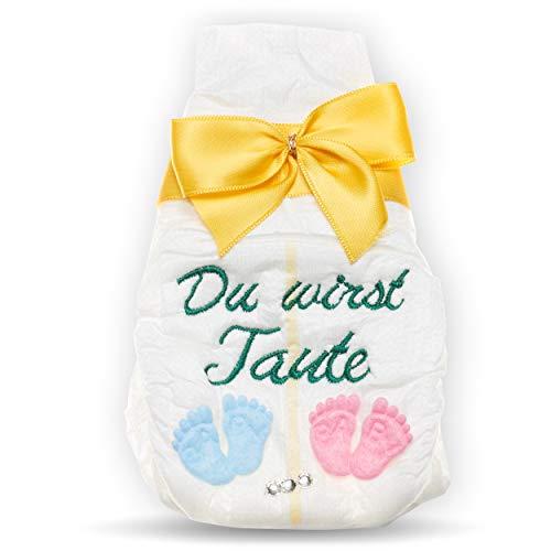 Tanjo Du wirst Tante, Tanjo bestickte Windel, gelb, Schwangerschaft Überraschung, Tante werden, Karte wir bekommen Nachwuchs, Überraschung, Geschenke zur Geburt
