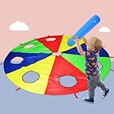 HAPPYMATY Rainbow Umbrella Parachute 10 Foot with 8 Handles for Kids,Play Parachute Outdoor Games(Whack a Mole) Activities Toys with 3 Air Sticks
