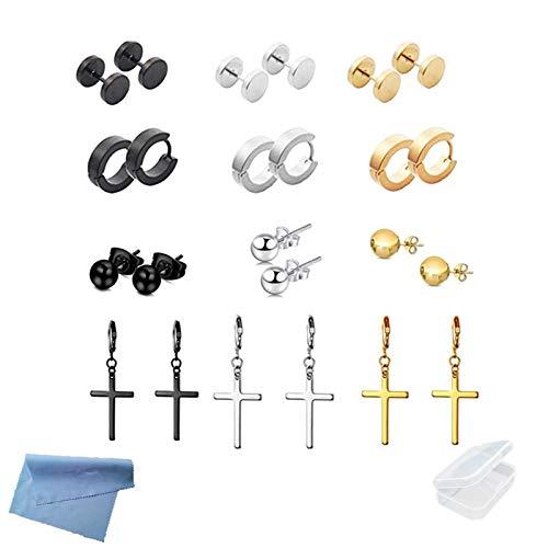 XHBTS 24 pendientes de cruz de acero inoxidable hipoalergénicos con bisagras, aretes de cruz para hombres y mujeres, con mini tela y minicua.