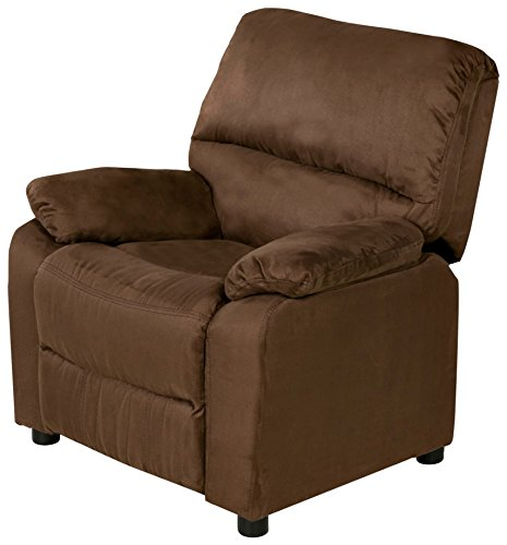 Relaxzen 60-7101KU11 USB Charging Contemporary Kids Recliner with Storage Arms, Brown