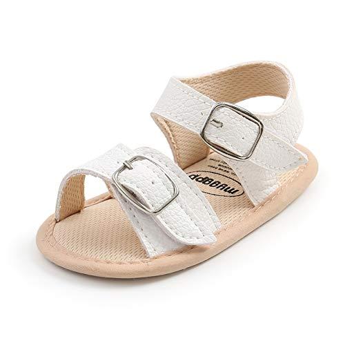 Scarpe estive per bambini, per neonati, antiscivolo, morbide in poliuretano, per culla, scarpe da camminata Bianco Size: 0-6 meses Estrecho