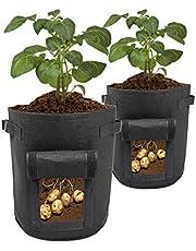ValueHall Aardappel Grow Tassen 2-delige 7 Gallon Tuinplantzakken Plantaardige Planter Herbruikbare Geweven Stof Potten Container met Handvatten en Klittenband Venster voor Aardappel, Wortel, Tomaat V7069