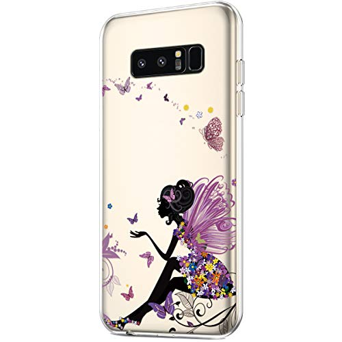 Case for Galaxy Note 8,Clear Art Panited Pattern Design Soft Flexible TPU Ultra-Thin Transparent Flexible Soft Rubber Gel TPU Protective Case Cover for Galaxy Note 8 Case,Butterfly Angel girl