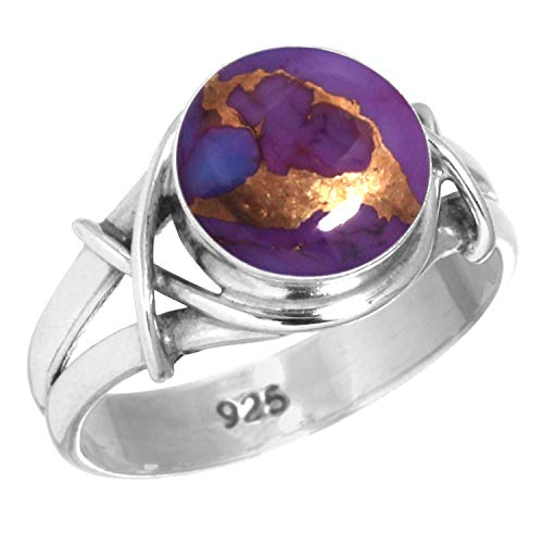 925 Sterling Silver Women Jewelry Copper Purple Turquoise Ring Size 8.5 (99085_CPT_R8.5)