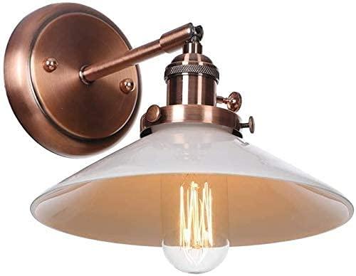 Lámpara de pared de moda Luz industrial de la pared de la vendimia ajustable con el interruptor DESVÁN Iluminación E27 Socket Apliques rústico Sombra de cristal blanca Lámpara de pared de metal Decora