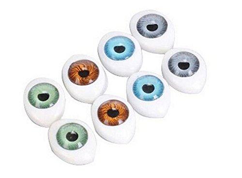 Elandy 8Pair (16 STÜCKE) Oval Puppe Augen-hohl Acryl Puppe Bär Handwerk Augen Augäpfel für DIY Nähen Handwerk Puppe Bär Puppe Tier Stofftiere (4 Farben) (23mm x 16mm/0.9'' x 0.6'')