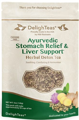 Ayurvedic Detox tea - Stomach Relief & Liver Cleansing - Organic Loose Leaf Milk Thistle Tea with Fennel, Ginger, Peppermint and Licorice (Loose Tea, 5 oz.)