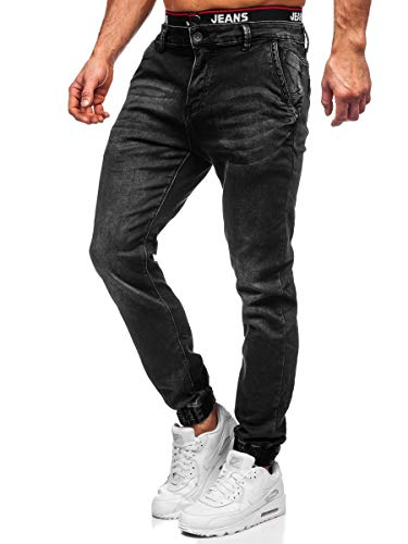 BOLF Homme Pantalon Jeans Jogger Denim Style Jogging Look usé Jambe étroite Détruit Taille Ajustable Slim Fit Casual Style Ritter 31002W0 Noir M [6F6]