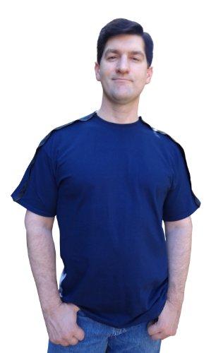 Blossom Breeze SureCare (TM) Post Surgery Wear | Men's T-Shirt | L Navy Blue