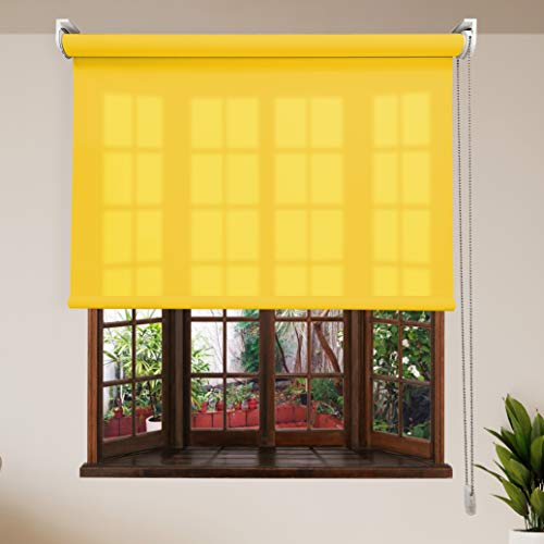 Estor TAMIZADOR LUMINOSO PREMIUM / Reduce la intensidad del sol y deja pasar mucha luz. Estor TRANSLÚCIDO enrollable. Elija su medida de ancho x alto. Color: Amarillo. Medidas: 110cm x 180cm