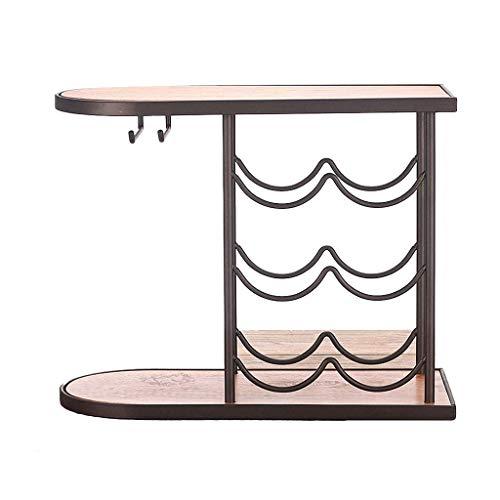 Estantería de vino, Boutique Wine Rack Rack Hogar forjado Hierro Historieta Sala de estar Cocina Cocina de madera Estante de madera Decoración del hogar Botella de vino Botella de vino Estante de vino
