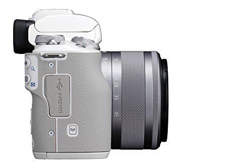 Canon EOS M50 spiegellos Systemkamera (24,1 MP, dreh-und schwenkbares 7,5cm (3 Zoll) Touchscreen-LCD, Digic 8, 4K Video, OLED EVF, WLAN, Bluetooth) mit Objektiv EF-M 15-45mm IS STM, weiß/silber