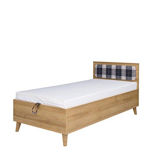 Mirjan24 Kinderbett Memone TM10, Jugendbett mit bettkasten und Lattenrost, Bett für Jugendzimmer, Funktionsbett 90x200 cm, Komfortbett, Kinderzimmer (Eiche Gold + Lobox 05)
