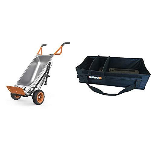 WORX Aerocart 8-in-1 Wheelbarrow / Yard Cart / Dolly & WA0234 Aerocart Wheelbarrow Adjustable Tub Organizer