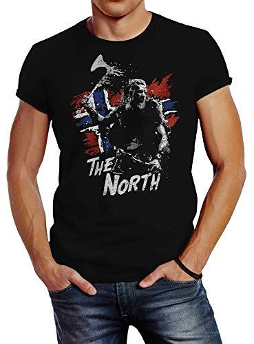 The North Viking Berserker Norway Valhalla Odin Ragnar T-Shirt Graphic Top Printed tee Shirt For Mens Black XL