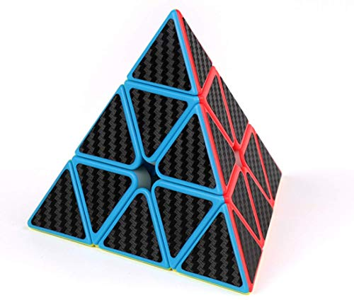 cfmour Pyramid Rubix Cube, Carbon Fiber Sticker Cube Puzzle Toys,Twist Toy Game Education For Children