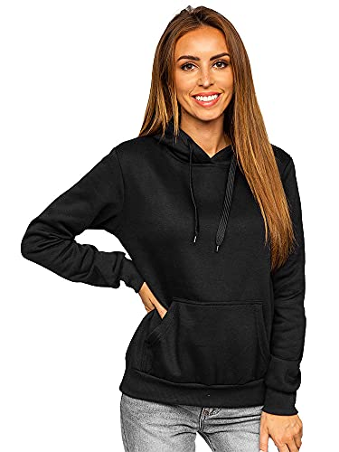 BOLF Femme Sweat-Shirt a Capuche Hoodie Sweat Manches Longues Temps Libre Sport Fitness Outdoor Basic Casual Style W02 Noir L [A1A]