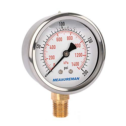 Measureman 21/2quot Dial Size Liquid Filled Pressure Gauge 0200psi/kpa 304 Stainless Steel Case 1/4quotNPT Lower Mount