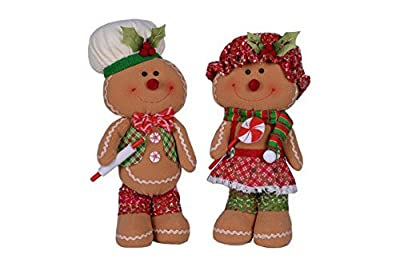 Smiling Mr. and Mrs. Gingerbread 16 x 8 Plush Christmas Figurine Set of 2