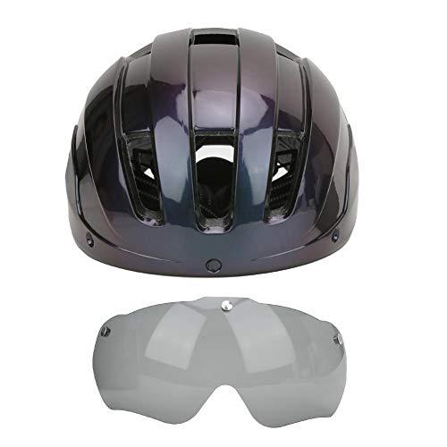 Keenso Casco de Bicicleta, Casco de Ciclismo Casco de Bicicleta Protector de Scooter Integrado Casco de Seguridad con Gafas a Prueba de Viento(Gradient Purple)