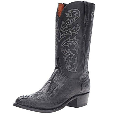 Lucchese Strauß Bein mit glatten Strauß Western Stiefel, schwarz (10,5 D)