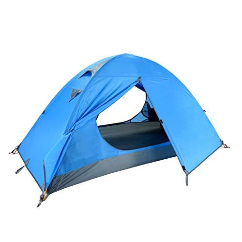 Azarxis Tienda de Campaña para 2 Personas Impermeable Doble Capa Carpa Ligera Acampar al Aire Libre (Azul - 1 Adulto)