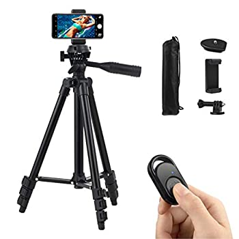 Polarduck Camera Mount Phone Tripod Stand  42-Inch 106cm Lightweight Travel Tripod for iPhone with Remote & Phone Holder & GoPro Adapter Compatible with iPhone & Android Cell Phone   Matte Black