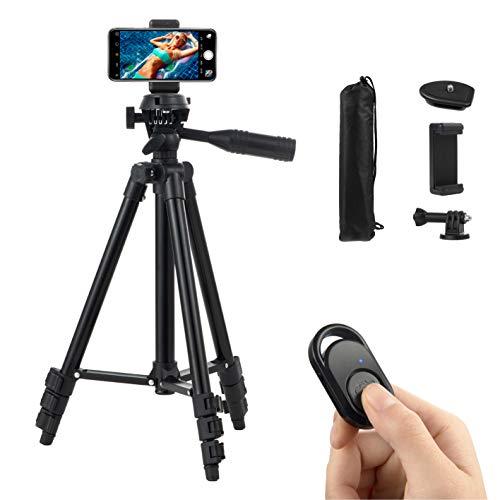 Hitchy Handy Stativ, Kamera Stativ 42 Zoll 106cm Aluminium-Leichtbau Smartphone Stativ für iPhone/Samsung/Huawei,GoPro und Kamera mit Bluetooth-Fernbedienung,Tragetasche und GoPro-Halterung(Schwarz)