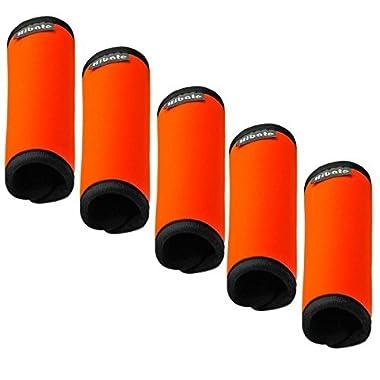 Hibate Comfort Neoprene Luggage Handle Wrap Grips - Fluorescent Orange, Pack of 5