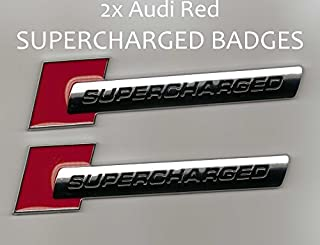 2 Pieces - SUPERCHARGED - Red Chrome - Badge for Audi - Decal Emblem Car Sticker *** USA SELLER ***