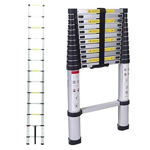 Échelle télescopique en aluminium pliable 3,8m - Capacité de charge de 150 kg,Distance entre les marches (échelle déployée): 30 cm (3.8m)