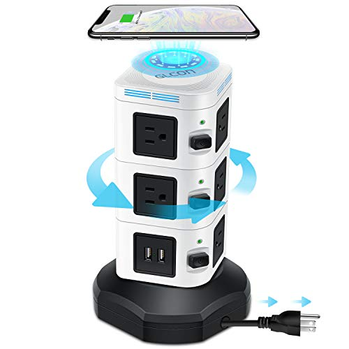 Power Strip Tower GLCON Surge Protector Tower Fast Wireless Charger + 4 USB 5V/5A Ports + 3000W 13A 10 Outlet Plugs + Charging Tower with 6ft Long Extension Cord for Home Office