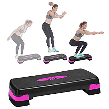Nicole Miller Aerobic Exercise Step Deck Adjustable Workout Fitness Stepper Exercise Platform with Risers