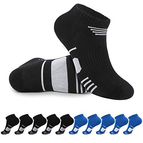 YOUCHAN Socken Herren 43-46 Schwarz Blau Sneaker Damen Kurze Baumwollesocken Unisex 10 Paar
