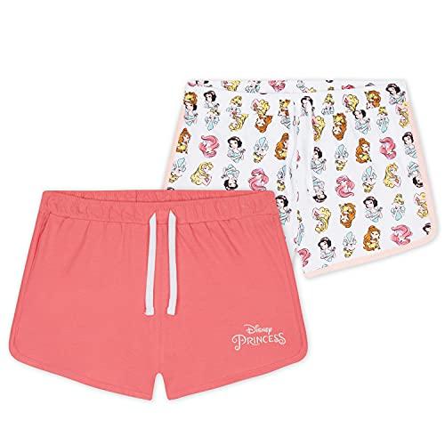 Disney Pantalon Corto Niña, Pack De 2 Pantalones Cortos de Princesas, Regalos para Niñas 18 Meses - 12 Años (Blanco/Rosa, 7-8 años)