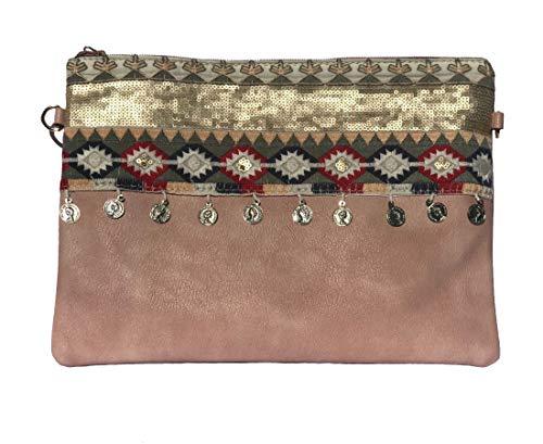 NOVAGO Pochette à Maquillage, Pochette multiusage,Pochette pour Tablette iPad avec bandoulière et décoration Fait Main (Rose)