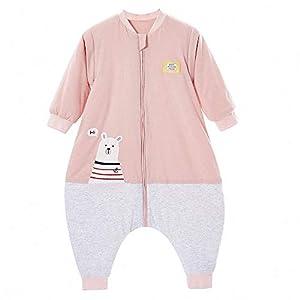 Saco de dormir para bebé, invierno, para niños, niñas, recién nacidos, pelele de 2,5 tog, con pies, para todo el año (tamaño del cuerpo: 110 – 130 cm, oso polar, color rosa y gris)