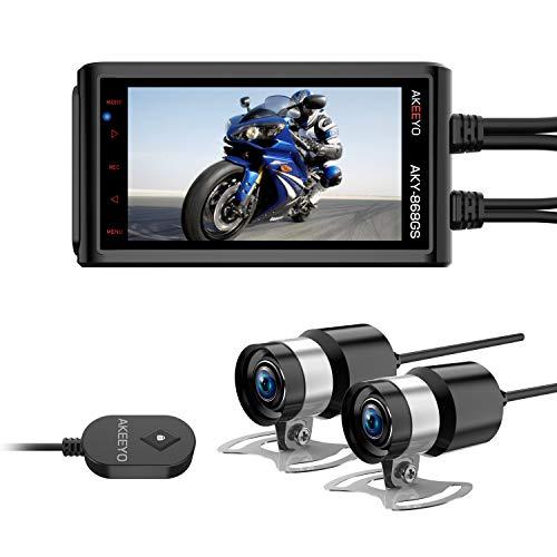 AKEEYO ドライブレコーダー バイク用 オートバイク 自転車 二輪車 超高画質 防水カメラ 画面揺れ防ぎ 200W画素 超広角 1920×1080P/49fps SONYセンサー STARVIS 夜間特化型 3インチIPS液晶 HDR搭載 Gセンサー 常時録画 緊急録画 32GB MicroSDカード同梱 日本語説明書 一年間品質保証 AKY-868GS