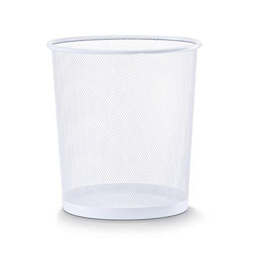 Zeller 17716 Corbeille à papier en grille métallique, blanc, 26 x 28 cm