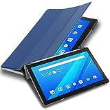 Cadorabo Funda Tableta para Lenovo Tab 4 10 Plus (10.1' Zoll) in Azul Oscuro Jersey – Cubierta Proteccíon Bien Fina en Cuero Artificial en Estilo Libro con Auto Wake Up e Función de Suporte