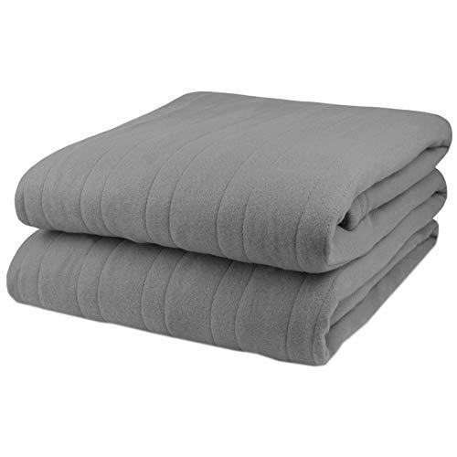 Biddeford Comfort Knit Fleece Electric Heated Warming Throw Blanket Grey Washable Auto Shut Off 10 Heat Settings