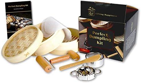 AUCG Dumpling Maker Cookware Sets Bamboo Steamer Basket With Dumpling Mold Set And Cutter Chinese product image