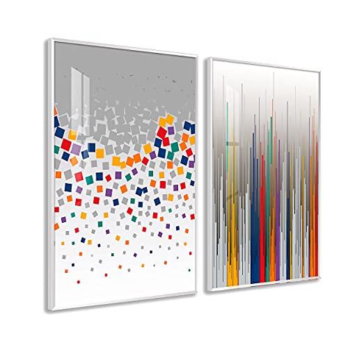 DekoArte - Cuadros Decoración   Moderno Sofisticado con Marco en PVC   Trípticos Decorativos Para Salón o Dormitorio   Póster con acrilico 0'5mm  Nordico, Abstracto, Geometrico   2 piezas 100x70 cm