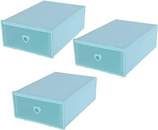 DOITOOL - 3 boîtes de rangement empilables en plastique transparent - Pour chaussures - Pour femme et homme - 31 x 24 cm -...