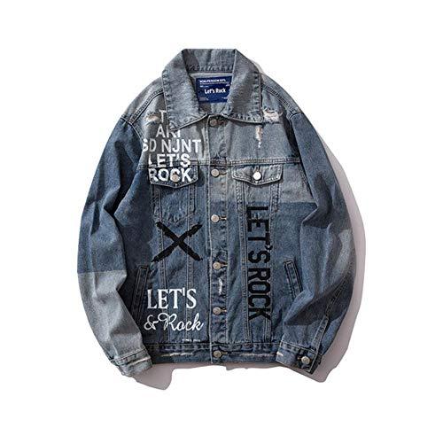 FHKGCD Otoño Hip Hop para Hombre Carta De Pintura Chaquetas De Jeans Chaquetas De Mezclilla con Costura De Color De Contraste Irregular Abrigos Hombre, Azul, L