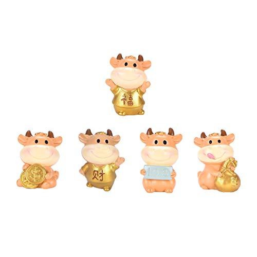 Yardwe - Juego de 5 figuras de vaca mini de resina para animales de fiary en miniatura