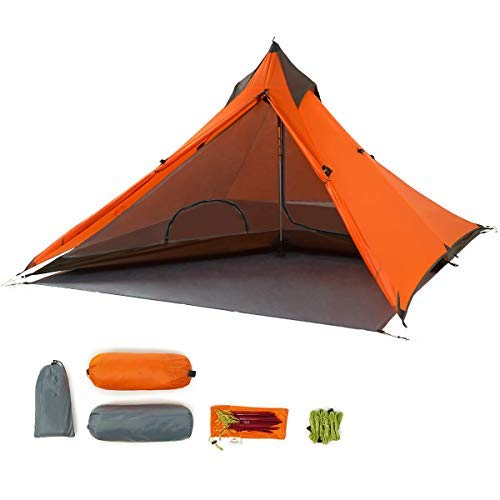 Trekking Pole Tent Ultralight 1 Person 3 Season Tent, Lightweight Pyramid Tent for Mountaineering Hiking Camping