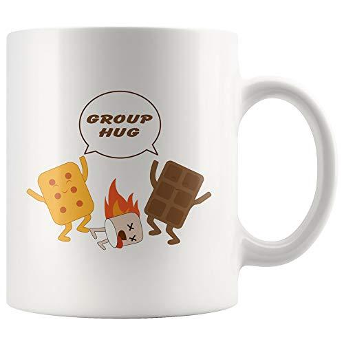 DKISEE Groep Solidariteit Therapie Knuffel Marshmallow Chocolade Smores Inspirerende Bonding Geschenken voor Office Coworker Baas Team Bouwen Koffie Mok 11oz Kleur: wit