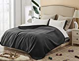 CHEE RAY 100% Waterproof The Dog Blanket 80 x 60 in, Soft Pet Pee Proof Throws for Couch Sofa Bed, Reversible Plush Protector Cover for Small/Medium/Large Dogs Puppies Cats, Black