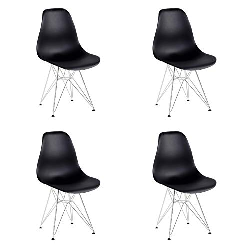 GrandCA HOME Set di 4 sedie, sedie da Pranzo Moderne in Stile Nordico, sedie da Ufficio con Gambe in Metallo (Nero)